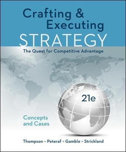 Solution manual Crafting & Executing Strategy The Quest For Competitive Advantage Concepts And Cases 21E Thompson