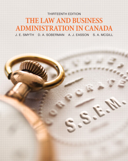 Test Bank (Complete Download) for   The Law and Business Administration in Canada