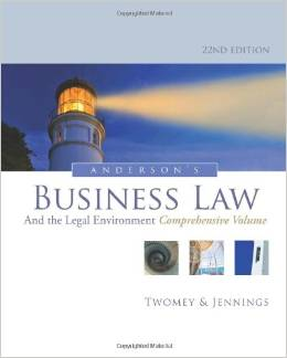 Test Bank (Complete Download) for  Andersons Business Law and the Legal Environment Comprehensive Volume 22th Edition